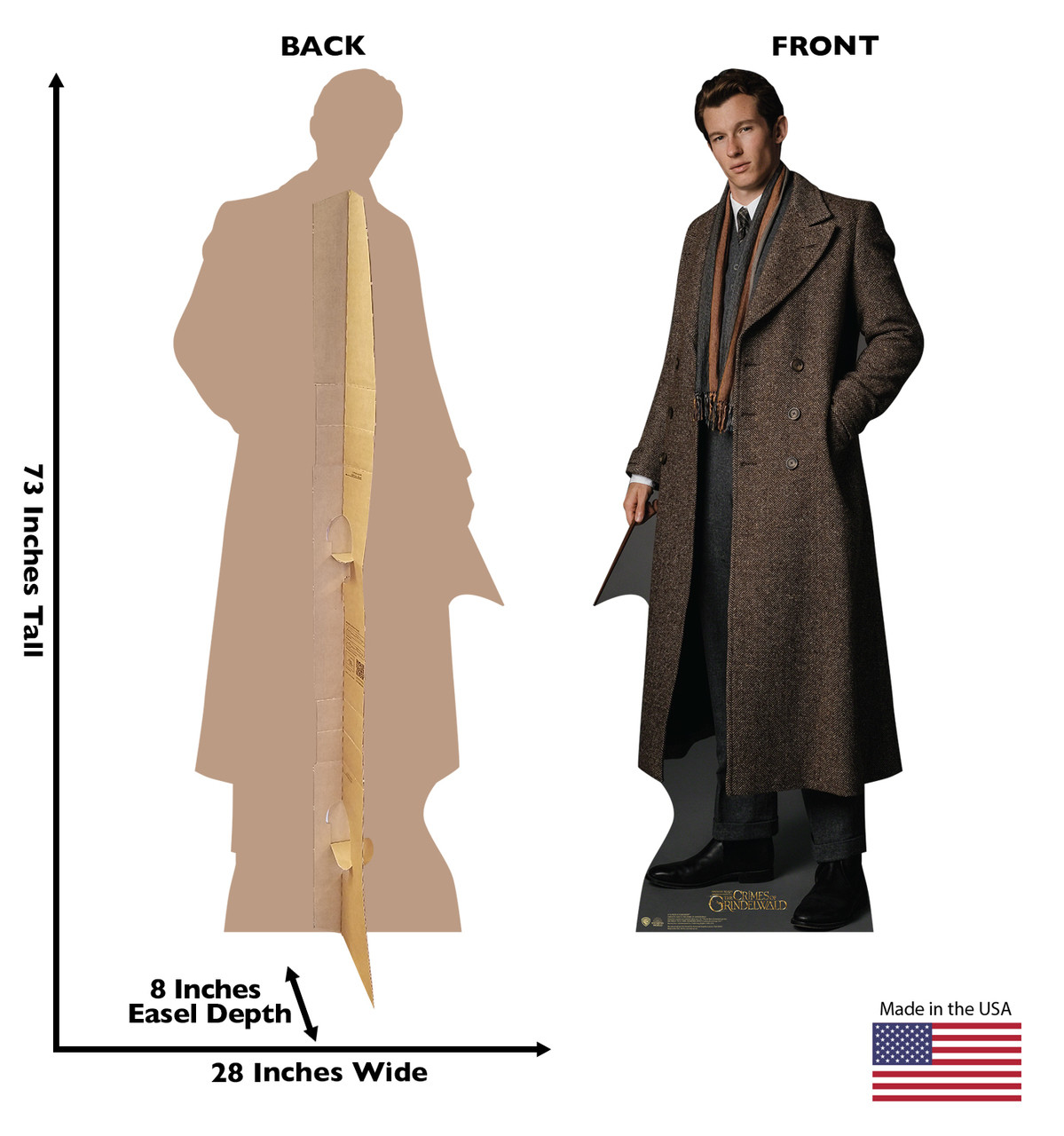 Theseus Scamander Lifes-size Cardboard Standee Front and Back with Dimensions.