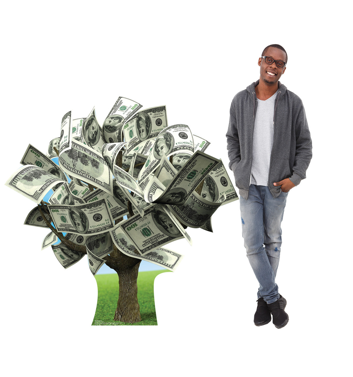 Life-size cardboard standee of a Money Tree with model.