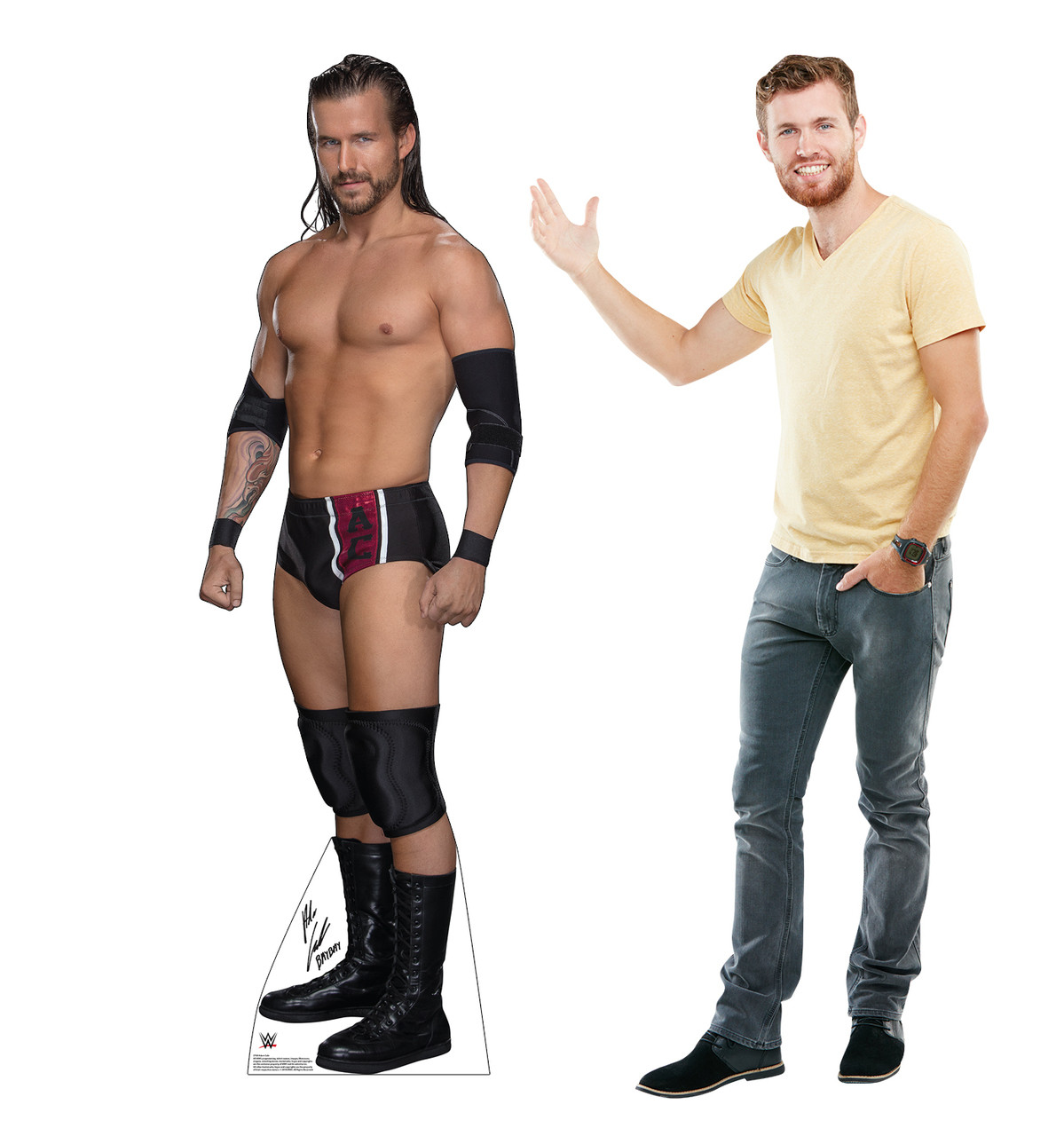 Adam Cole Life-size cardboard standee with model.