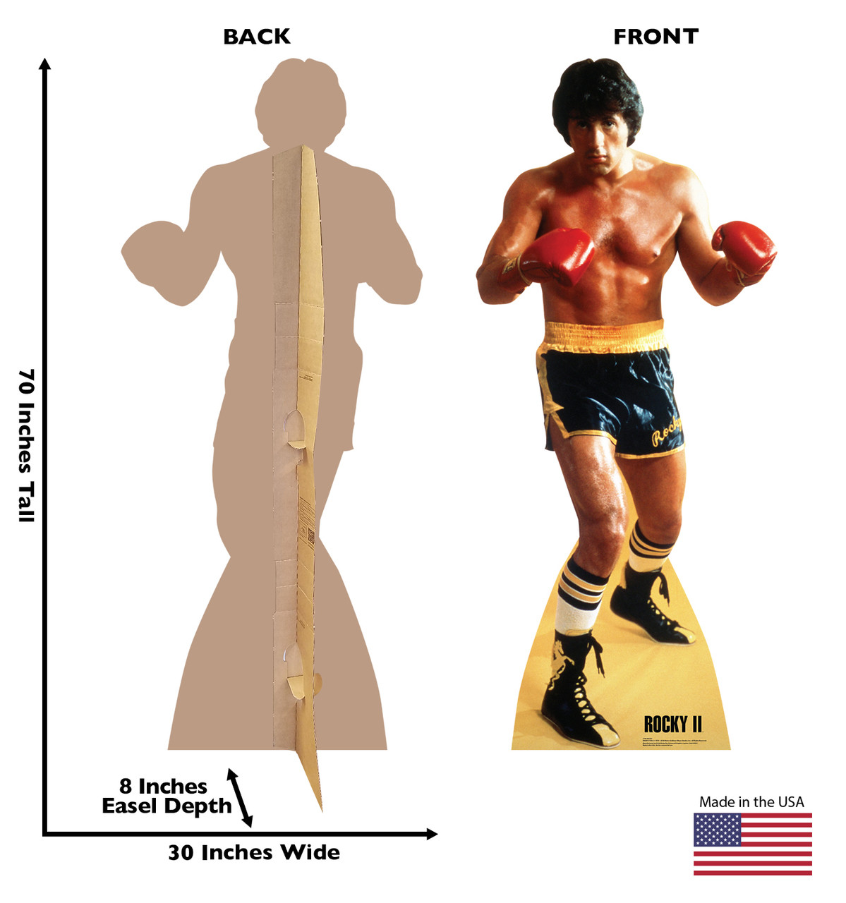 Life-size cardboard standee of Rocky from Rocky II. Back and front with dimensions.