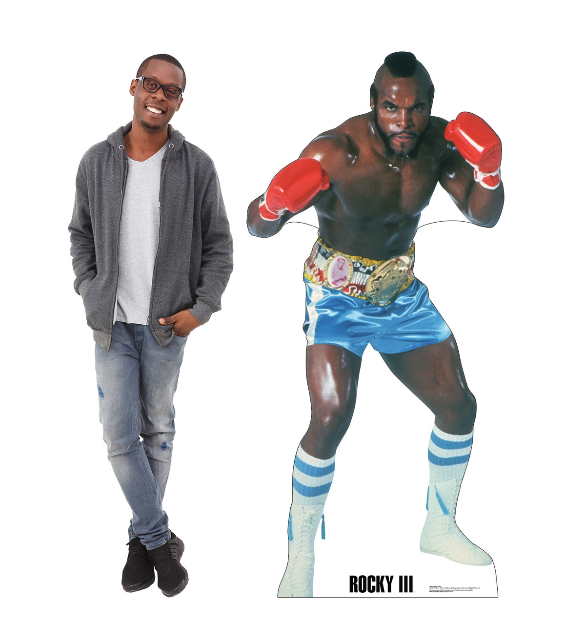 Life-size cardboard standee of Clubber Lang from Rocky III with model.
