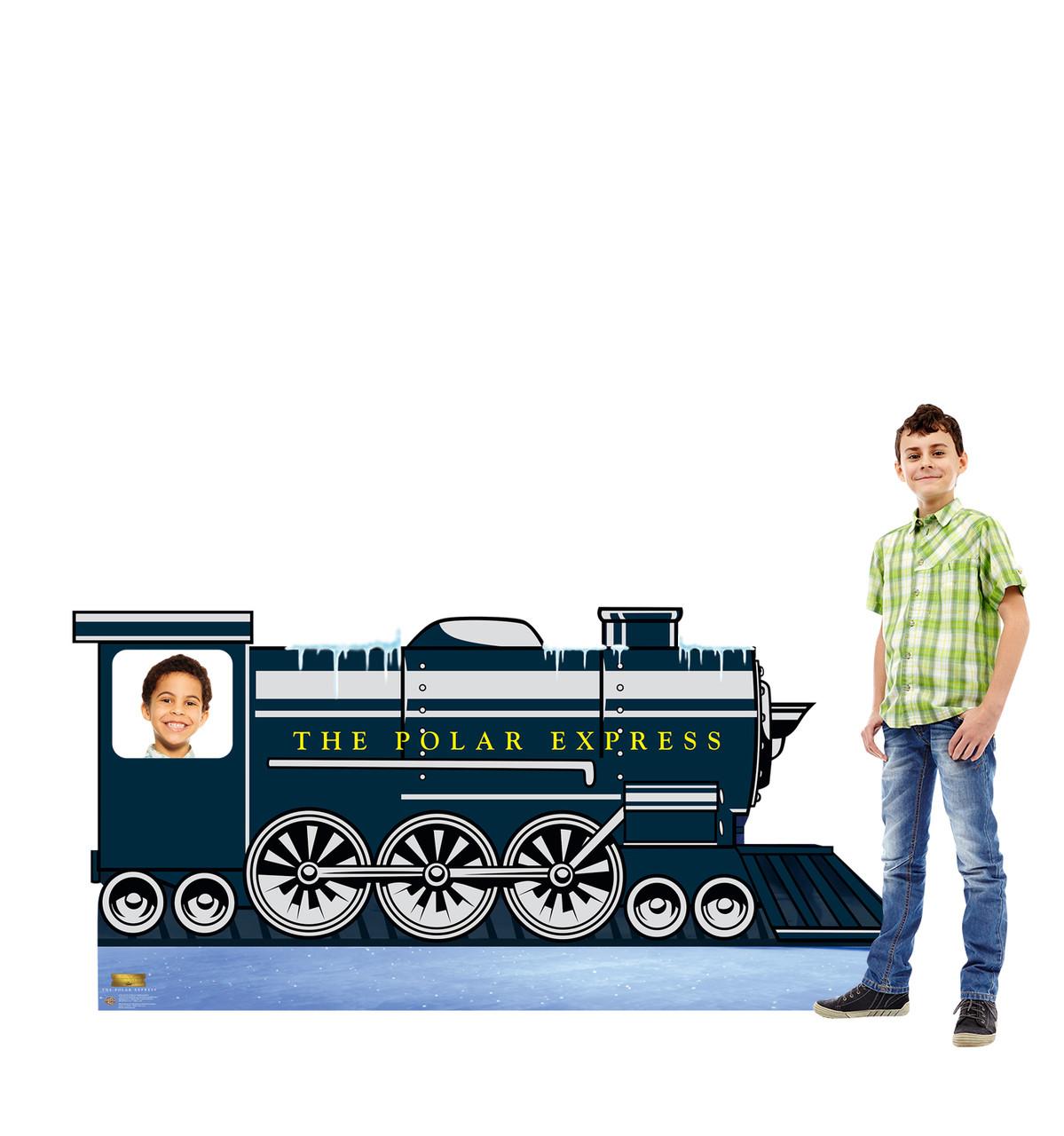 Life-size cardboard standee of the Polar Express Train Stand-in from The Polar Express with model.