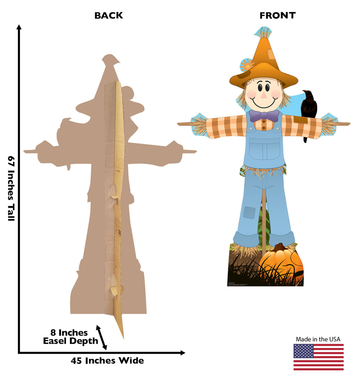 Life-size cardboard standee of Scarecrow Male. View of back and front of standee with dimensions.