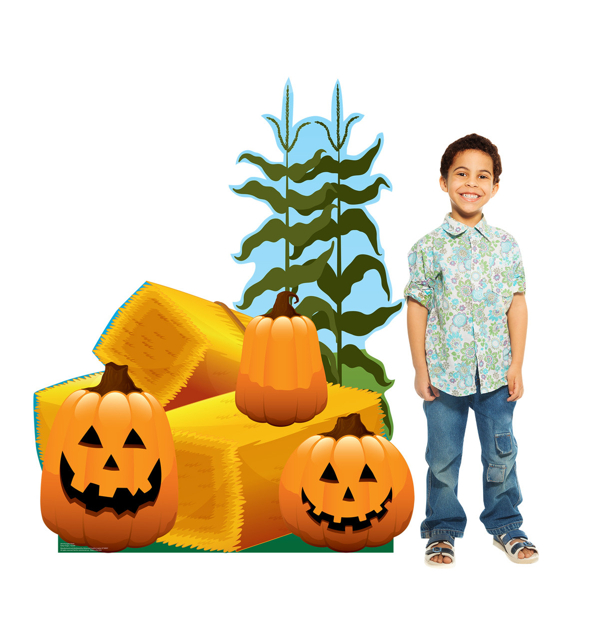 Life-size cardboard standee of Pumpkin Patch with model.