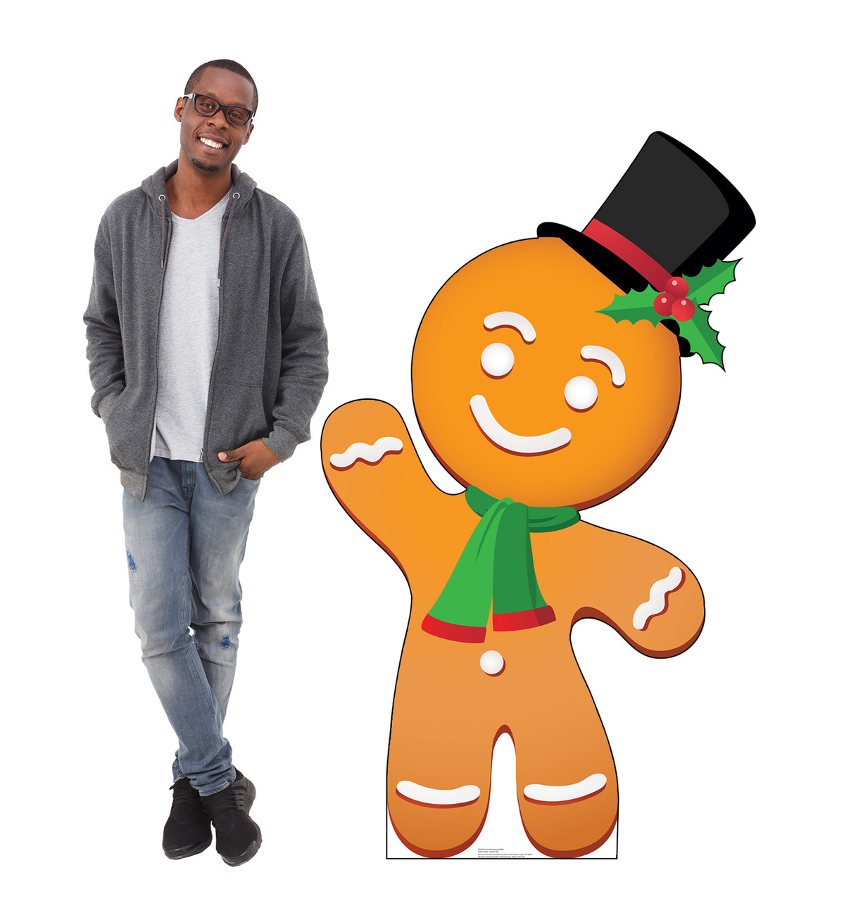 Life-size cardboard standee of Illustrated Gingerbread Man with Model.