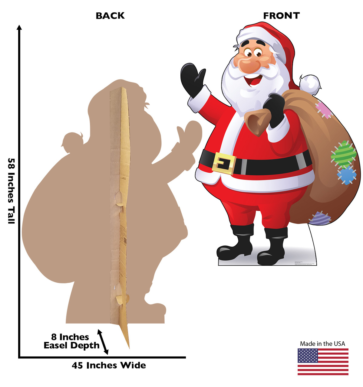Life-size cardboard standee of Illustrated Santa Claus. View of back and front of standee with dimensions.