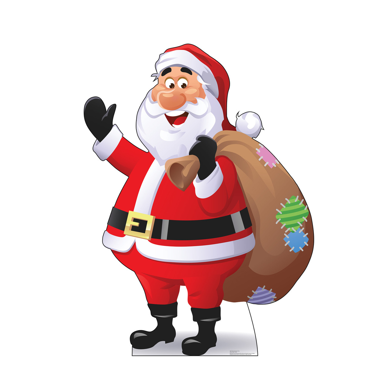 Life-size cardboard standee of Illustrated Santa Claus.