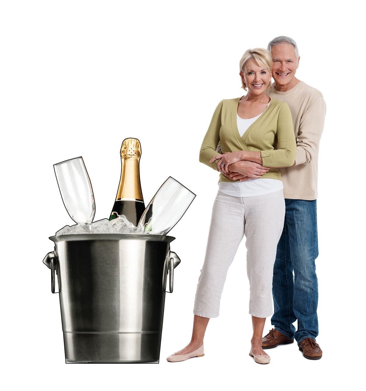 Life-size cardboard standee of a Champagne Bucket with models.