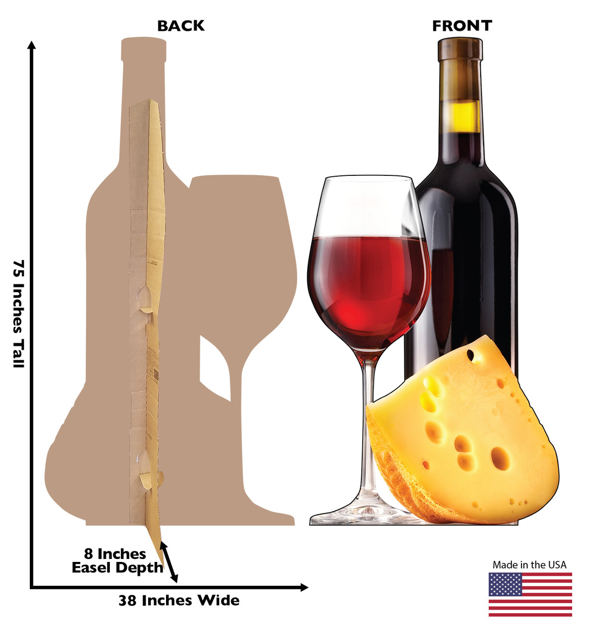 Life-size cardboard standee of Cheese and Wine. View of back and front of standee with dimensions.
