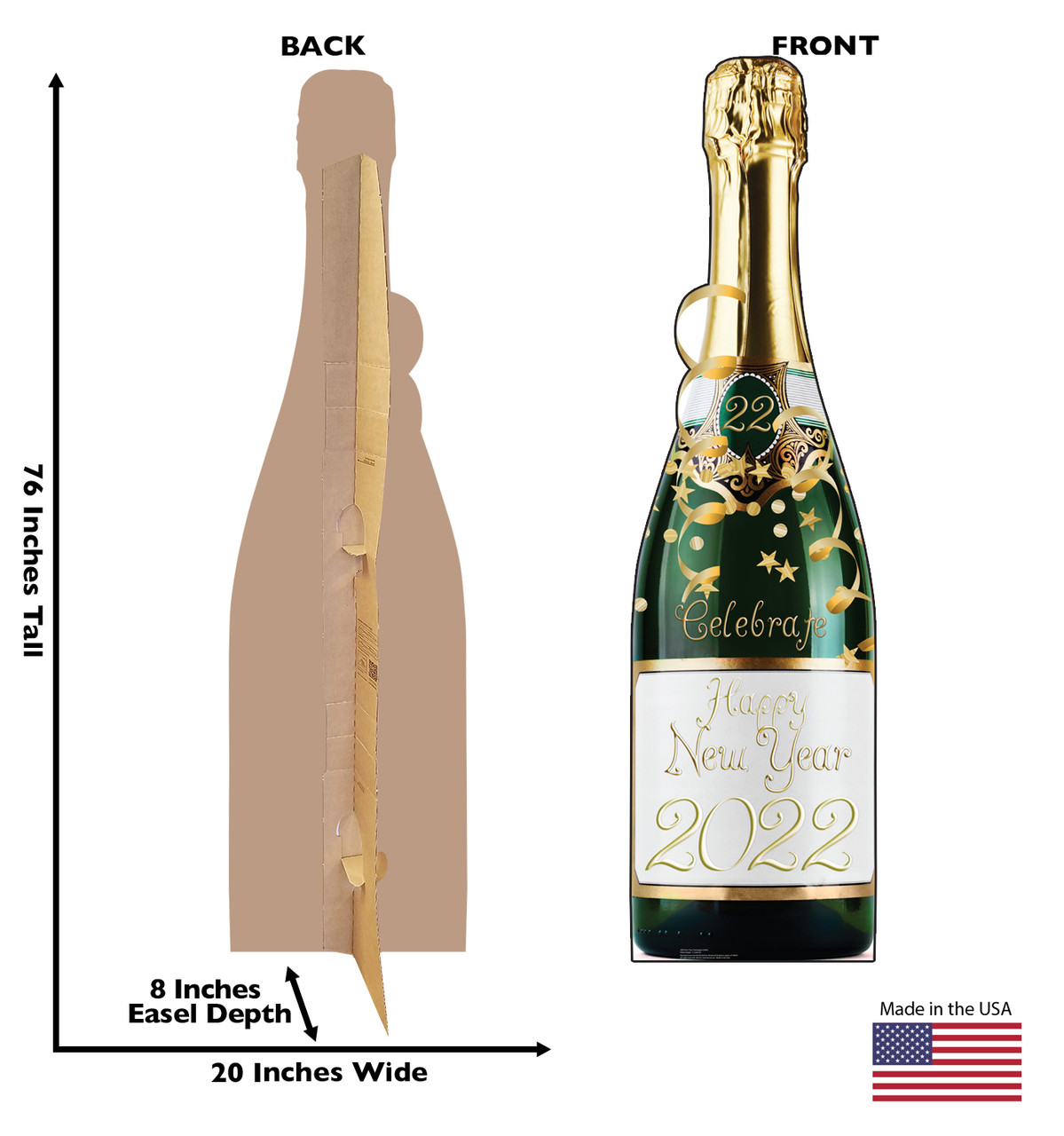 Life-size cardboard standee of a New Years Champagne Bottle. View of back and front of standee with dimensions.