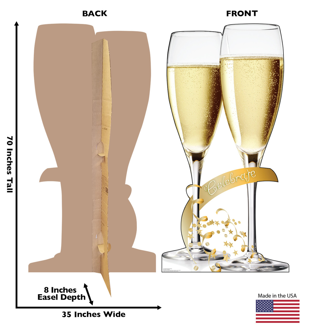 Life-size cardboard standee of Celebrate Champagne Glasses. View of back and front of standee with dimensions.