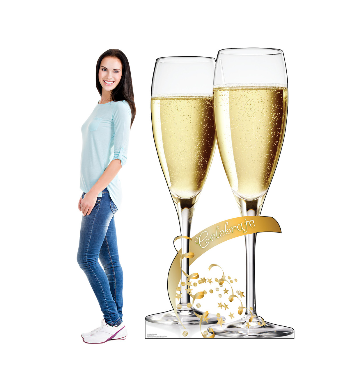 Life-size cardboard standee of Celebrate Champagne Glasses with model.