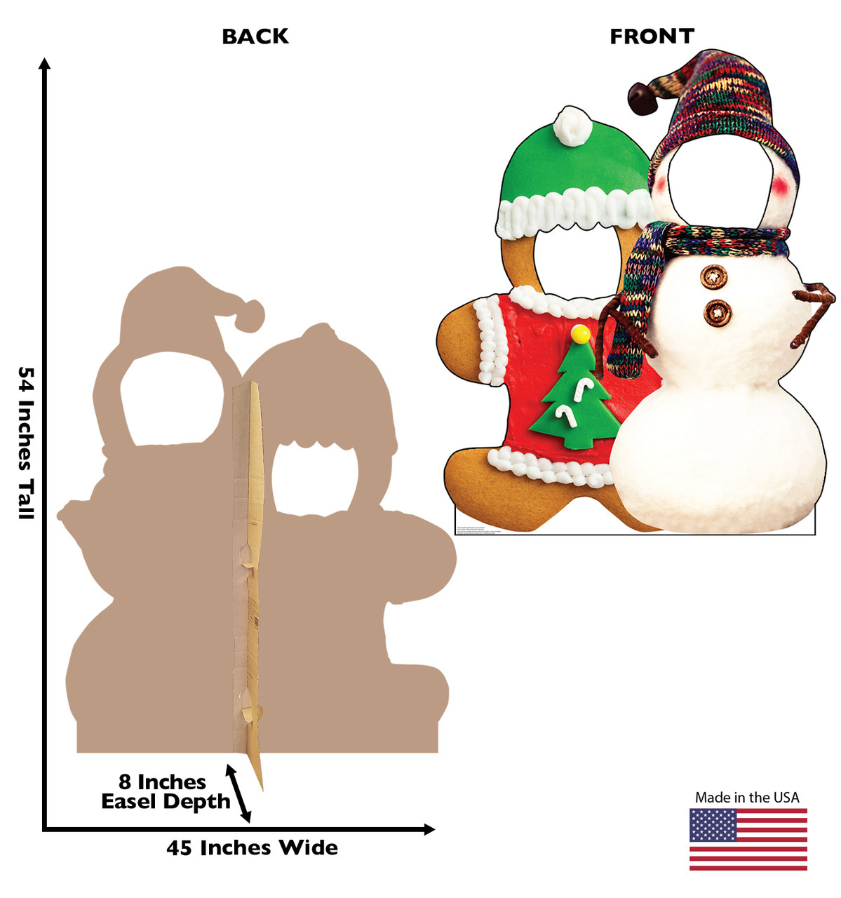 Life-size cardboard standee of Gingerbread & Snowman Stand-in. View of back and front of standee with dimensions.