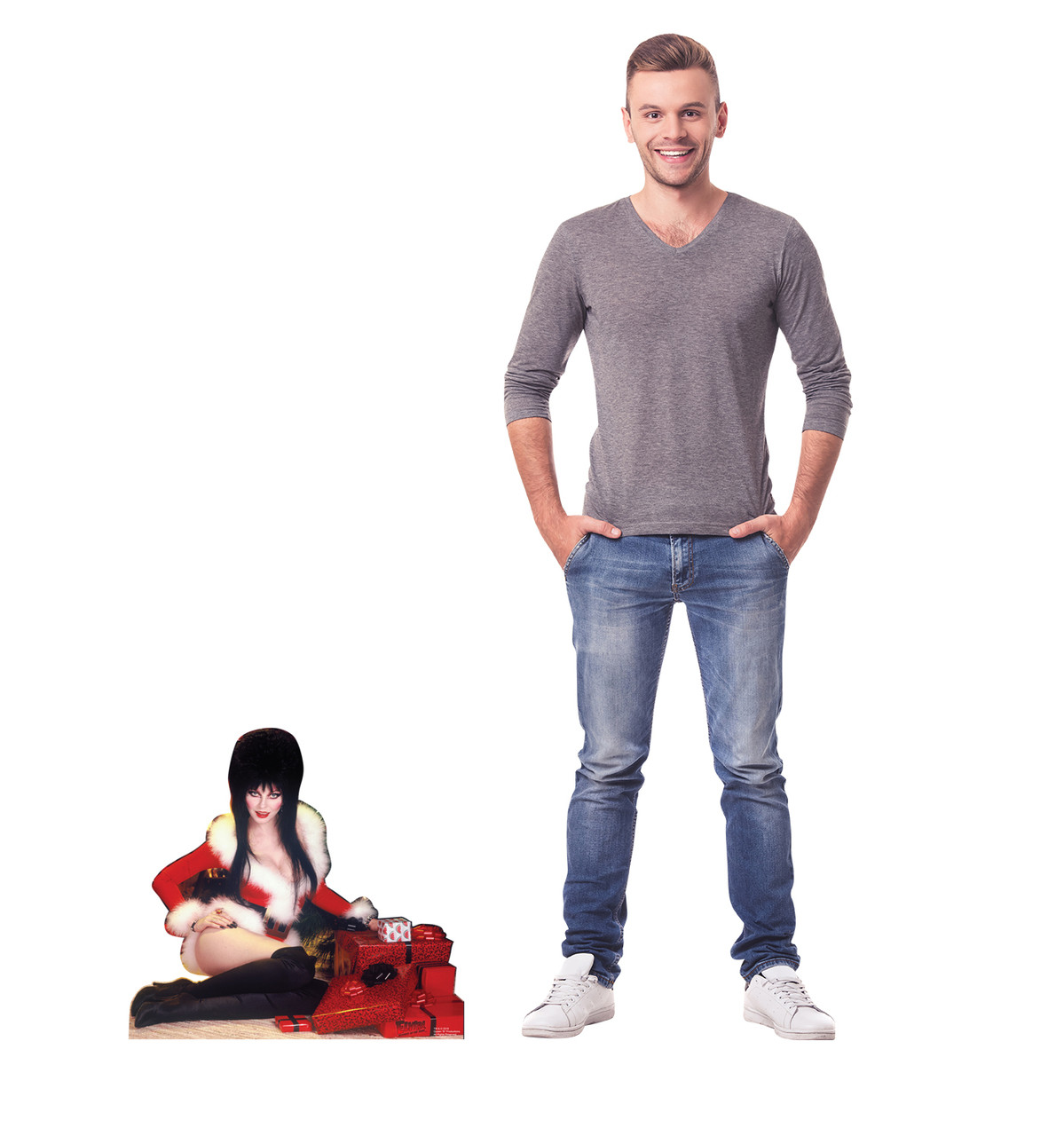 Elvira Christmas mini standee with model.