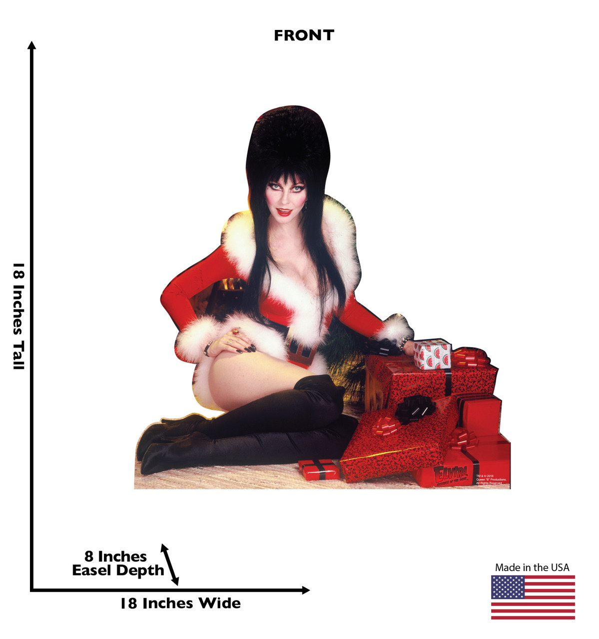 Elvira Christmas mini standee with dimensions.