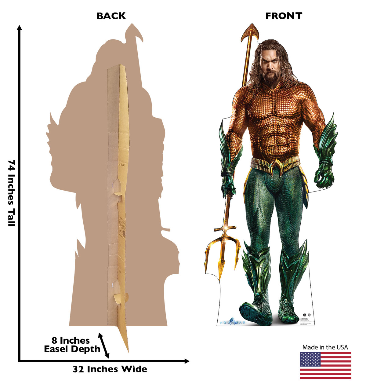 Life-size cardboard standee of the super hero Aquaman. Front and back with dimensions.