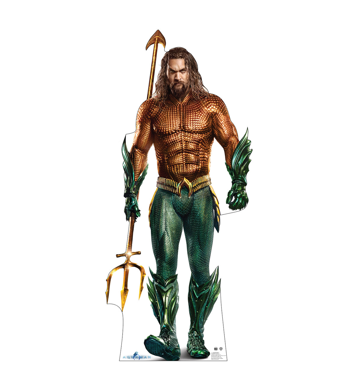 Life-size cardboard standee of the super hero Aquaman.
