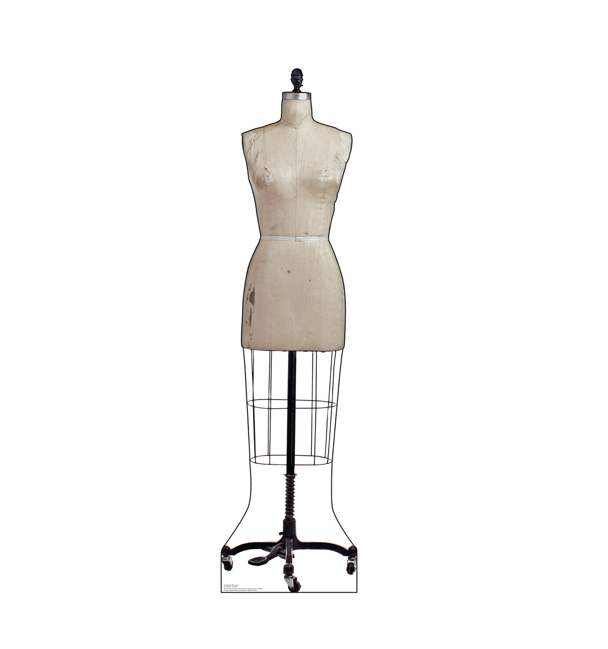 Life-size cardboard standee of an Old Dress Mannequin.