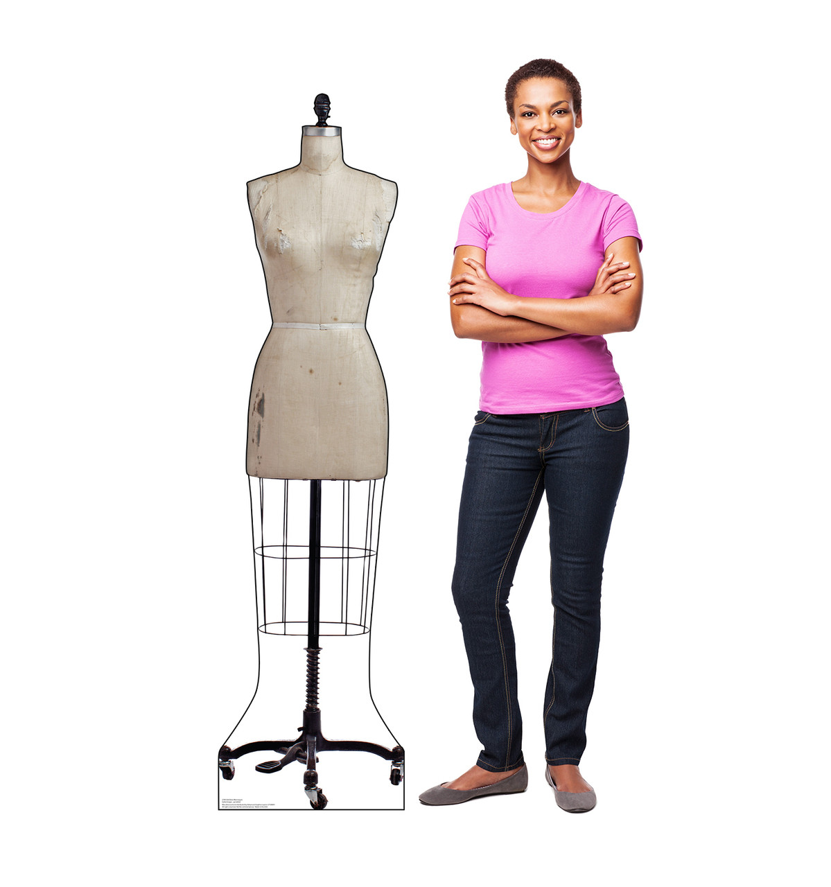 Life-size cardboard standee of an Old Dress Mannequin with model.