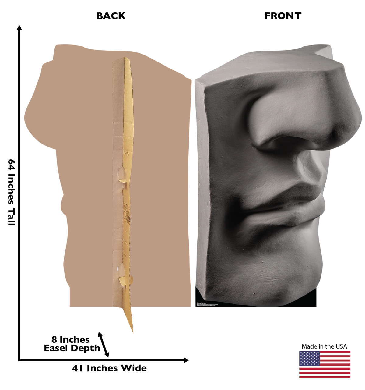 Life-size cardboard standee of a Plaster Face with back and front dimensions.