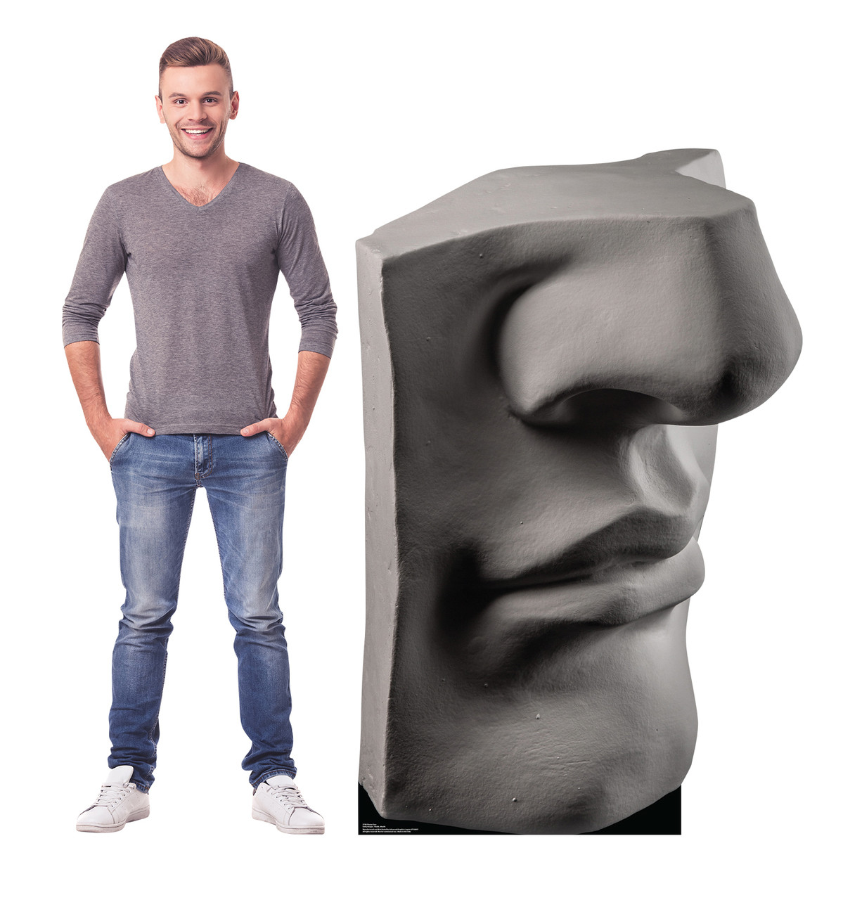 Life-size cardboard standee of a Plaster Face with model.