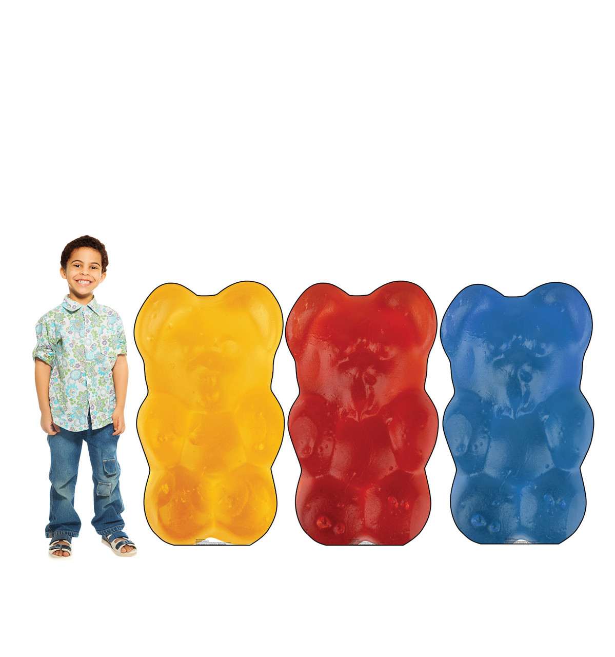 Life-size cardboard standee of Gummy Bears (3 Pack) with model.