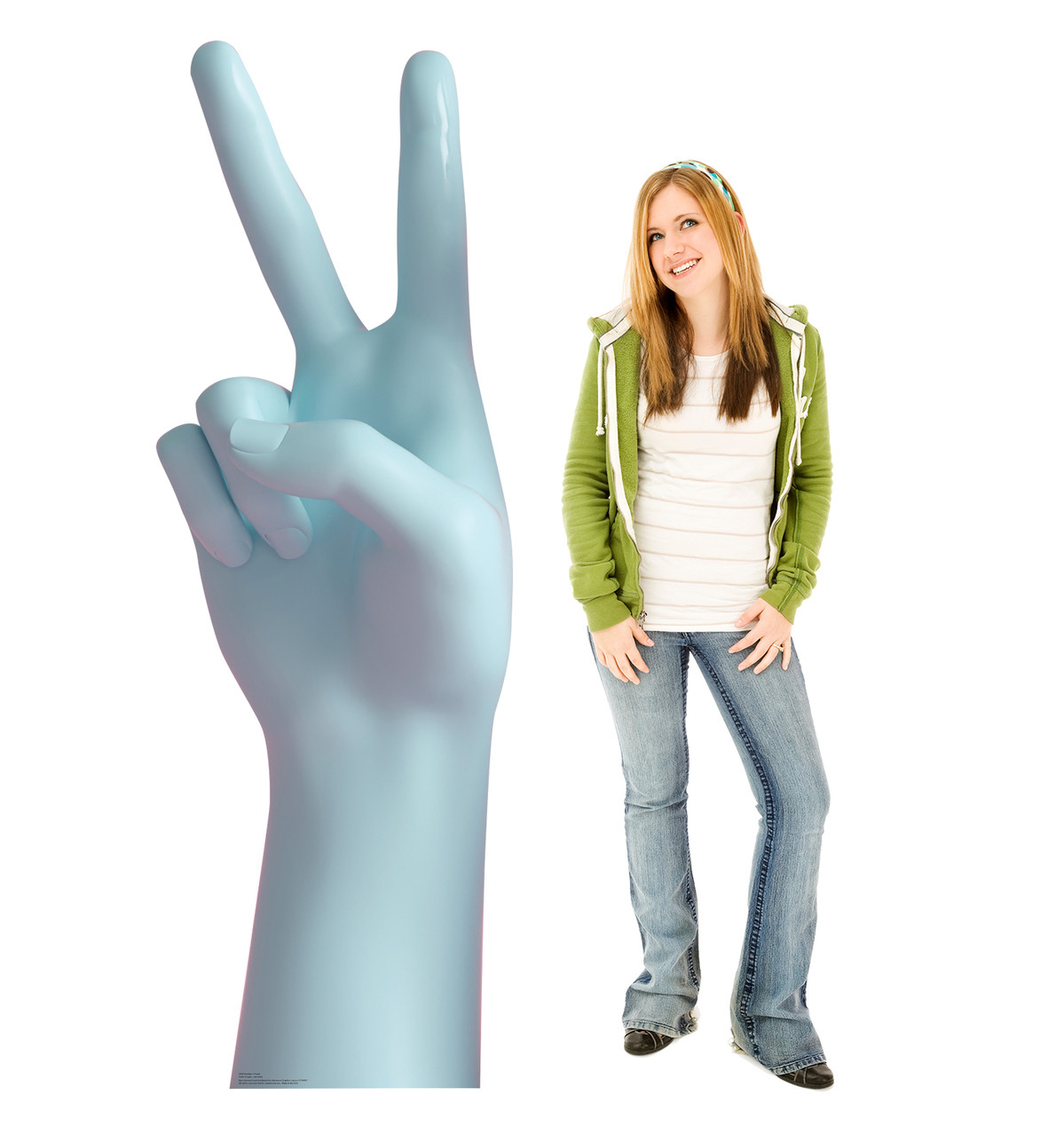Life-size cardboard standee of a Number 2 Hand with model.