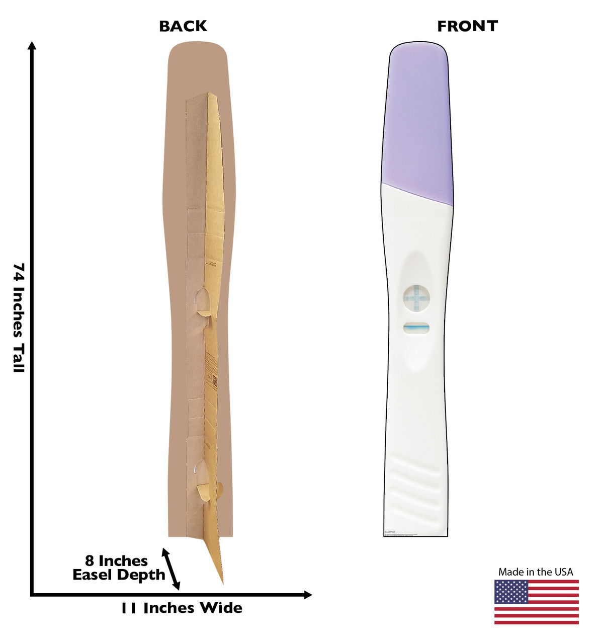 Life-size cardboard standee of a + Pregnancy Test with back and front dimensions.