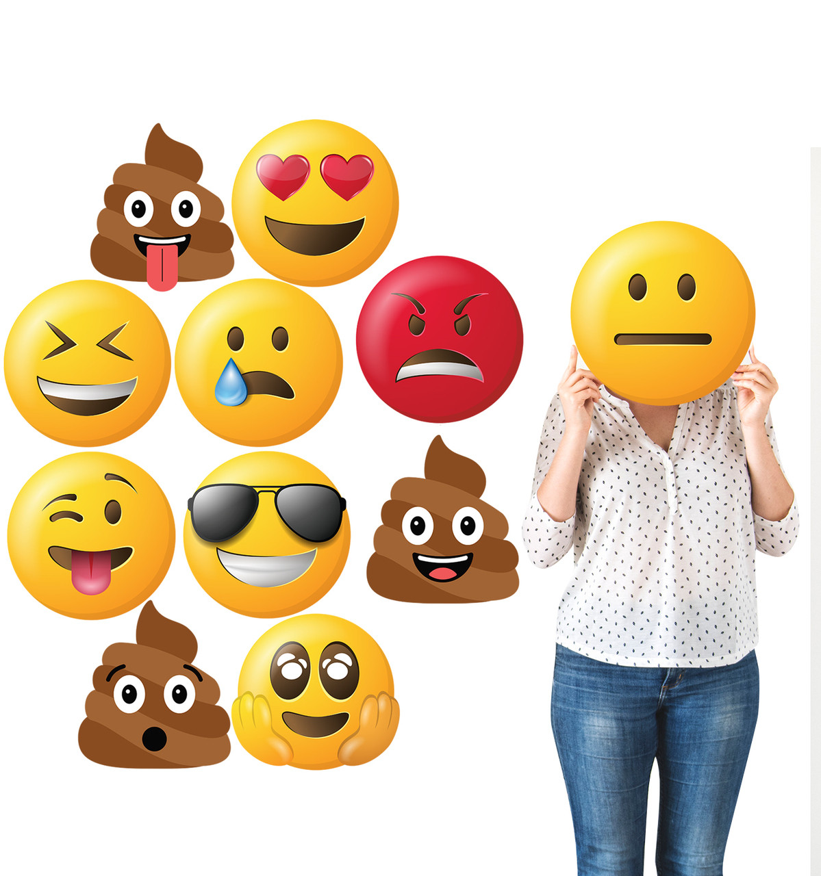 Cardboard Emoji Heads (Set of 11) with model.