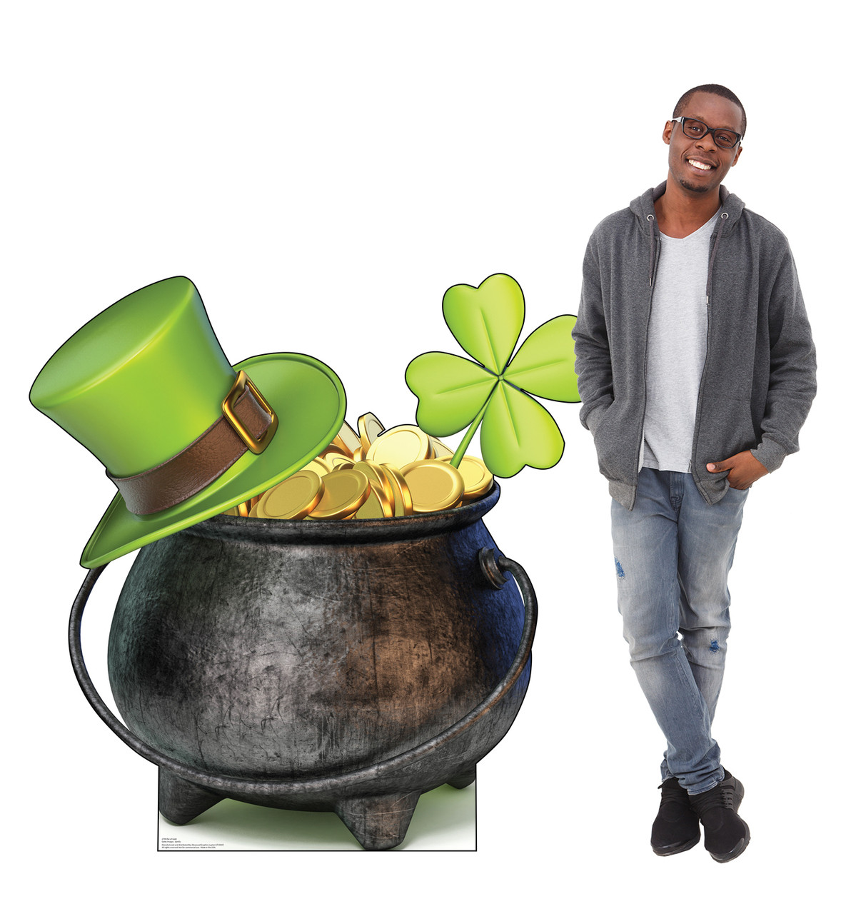 Life-size cardboard standee of a Pot of Gold with model.