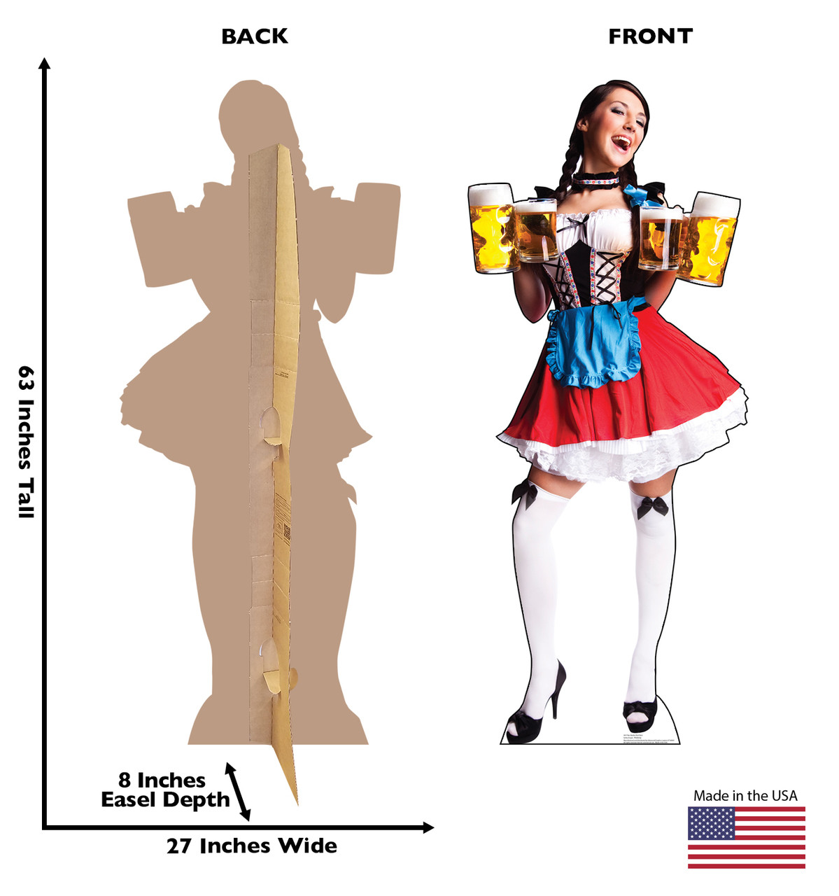 Life-size cardboard standee of a Bar Maiden in Red Skirt with back and front dimensions.