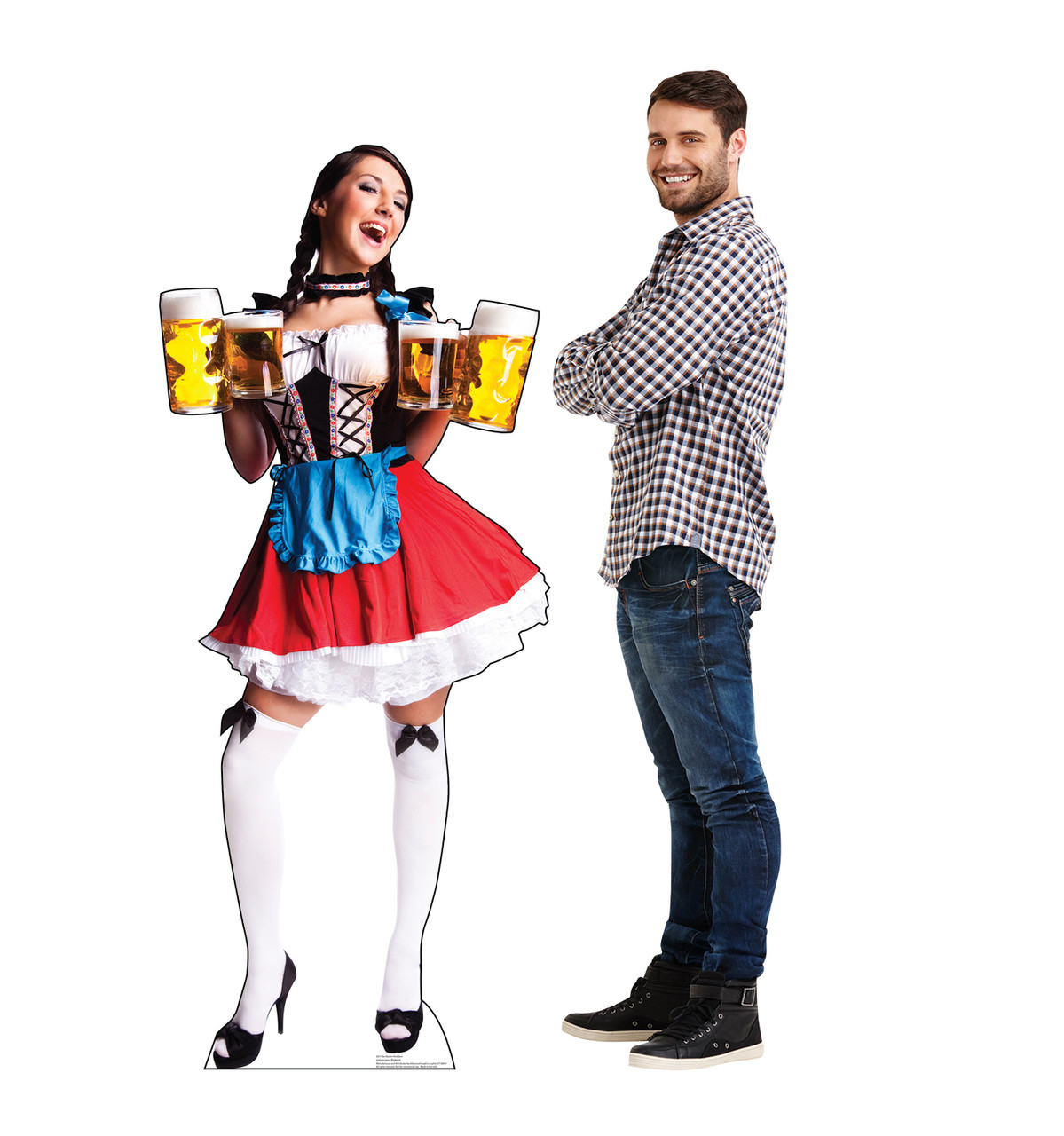 Life-size cardboard standee of a Bar Maiden in Red Skirt with model.