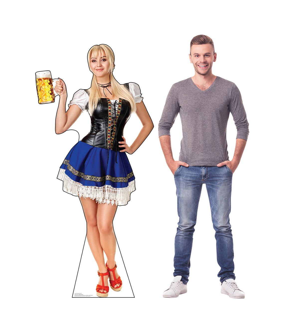 Life-size cardboard standee of a Bar Maiden Blue Skirt with with model.