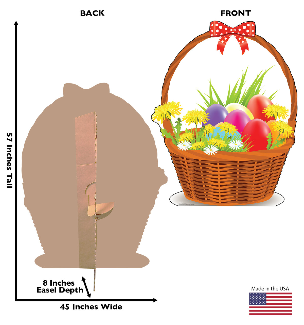 Life-size cardboard standee of an Easter Basket with back and front dimensions.