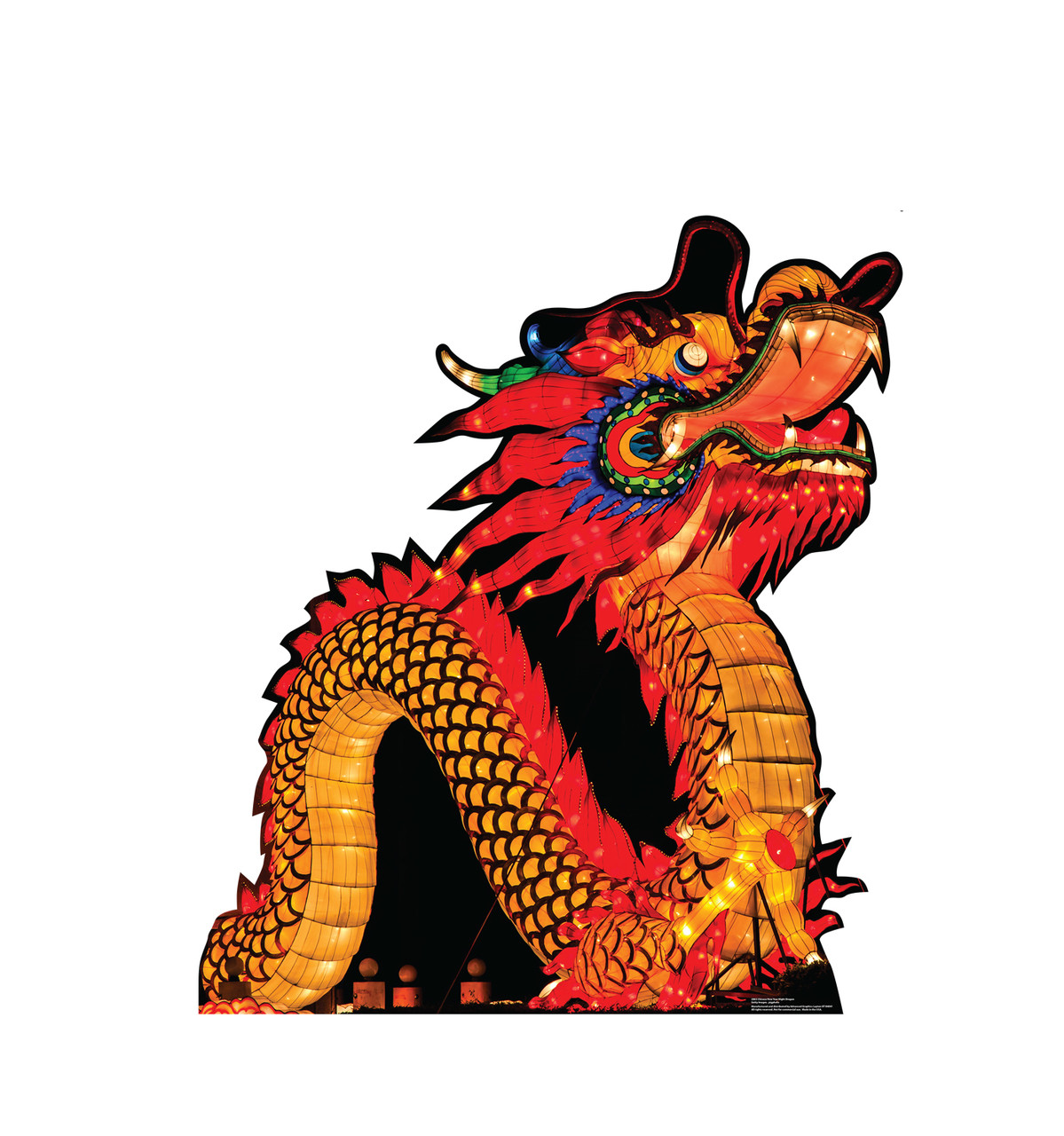 Life-size cardboard standee of a Chinese New Year Night Dragon.