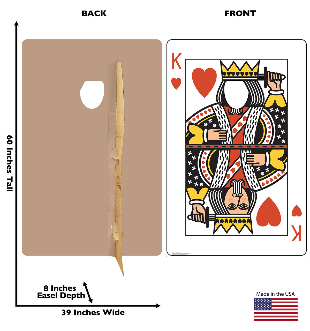 Life-size cardboard standee of the King of Hearts Card standin with back and front dimensions.