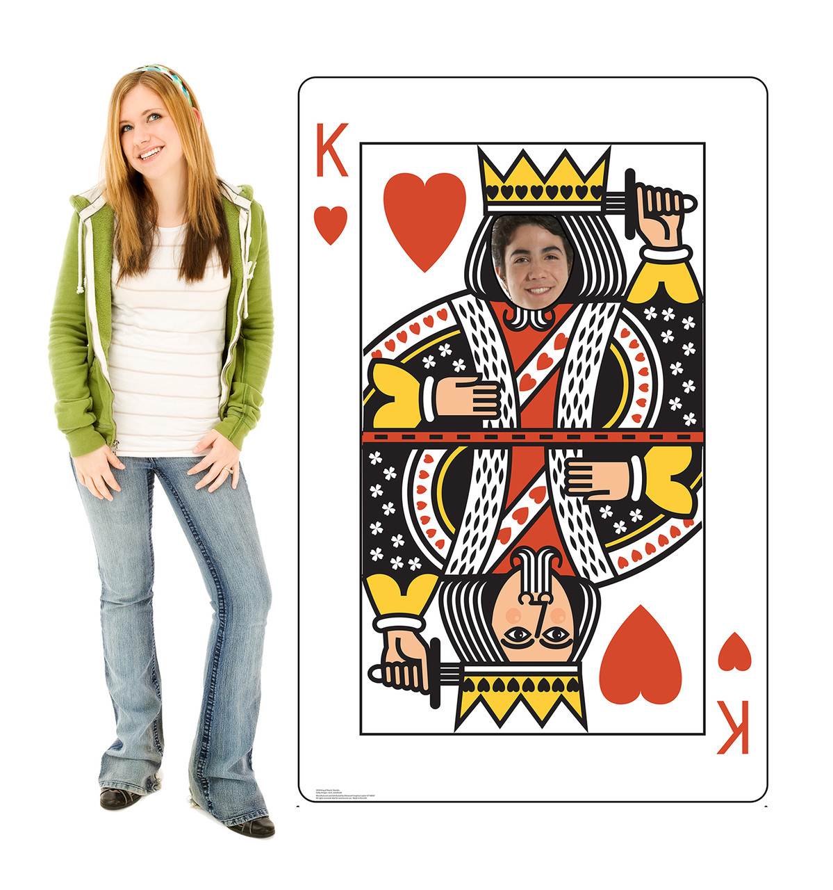 Life-size cardboard standee of the King of Hearts Card standin with model.