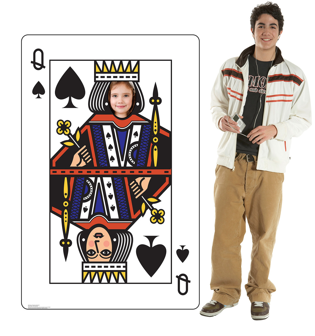Life-size cardboard standee of the Queen of Spades Card standin with model.