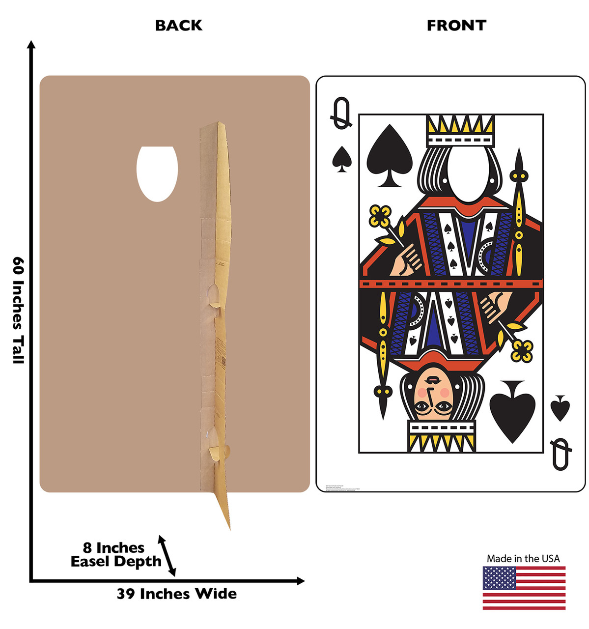 Life-size cardboard standee of the Queen of Spades Card standin with back and front dimensions.