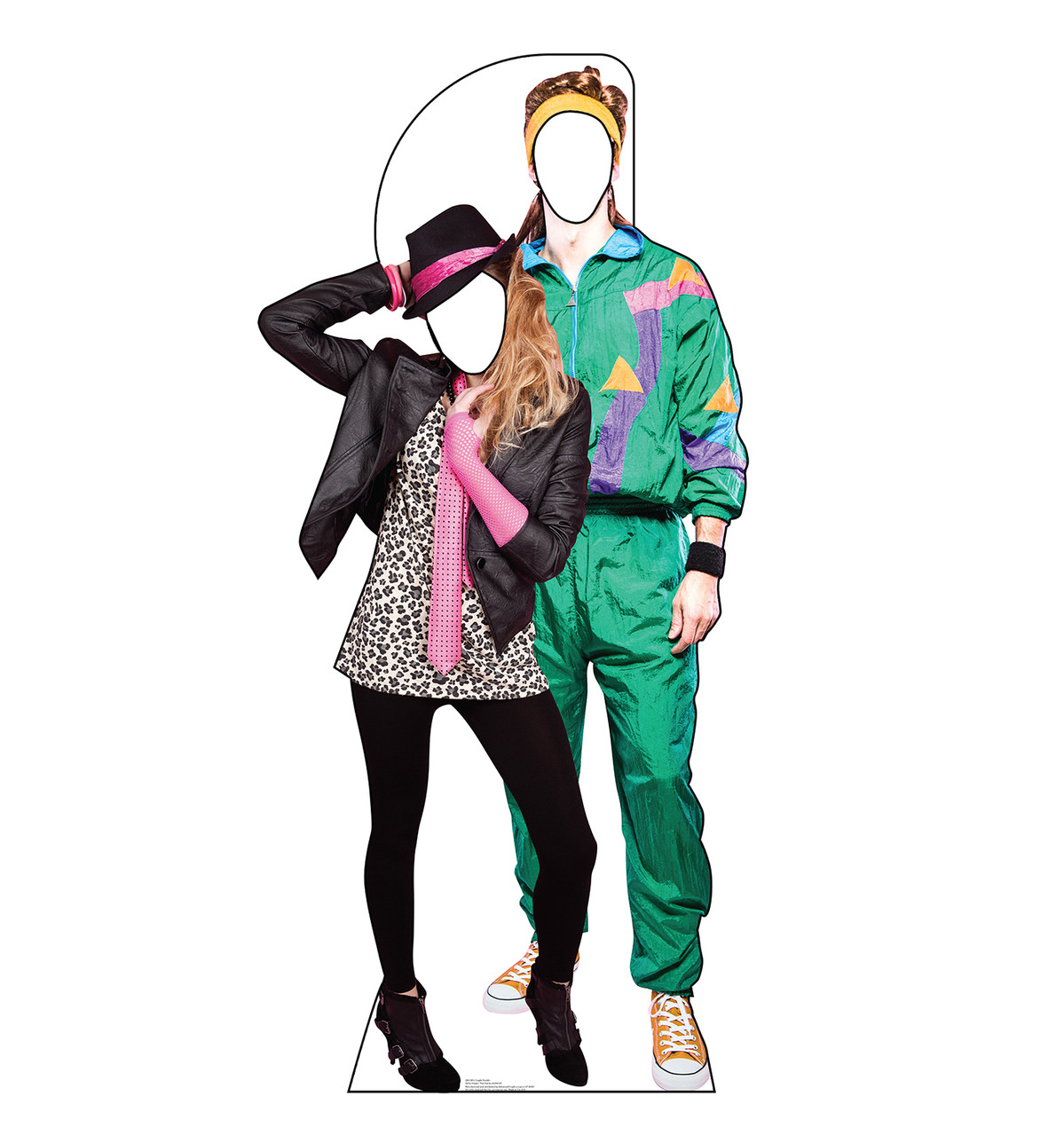 Life-size cardboard standin of 80's Couple.