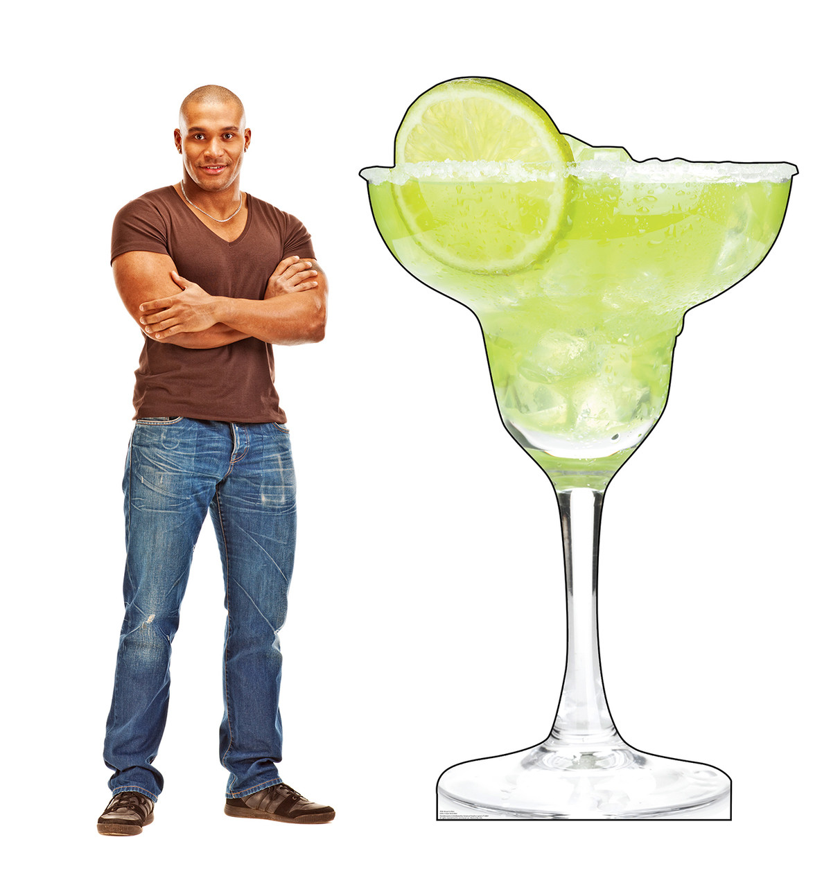 Life-size cardboard standee of a Margarita Glass with model.