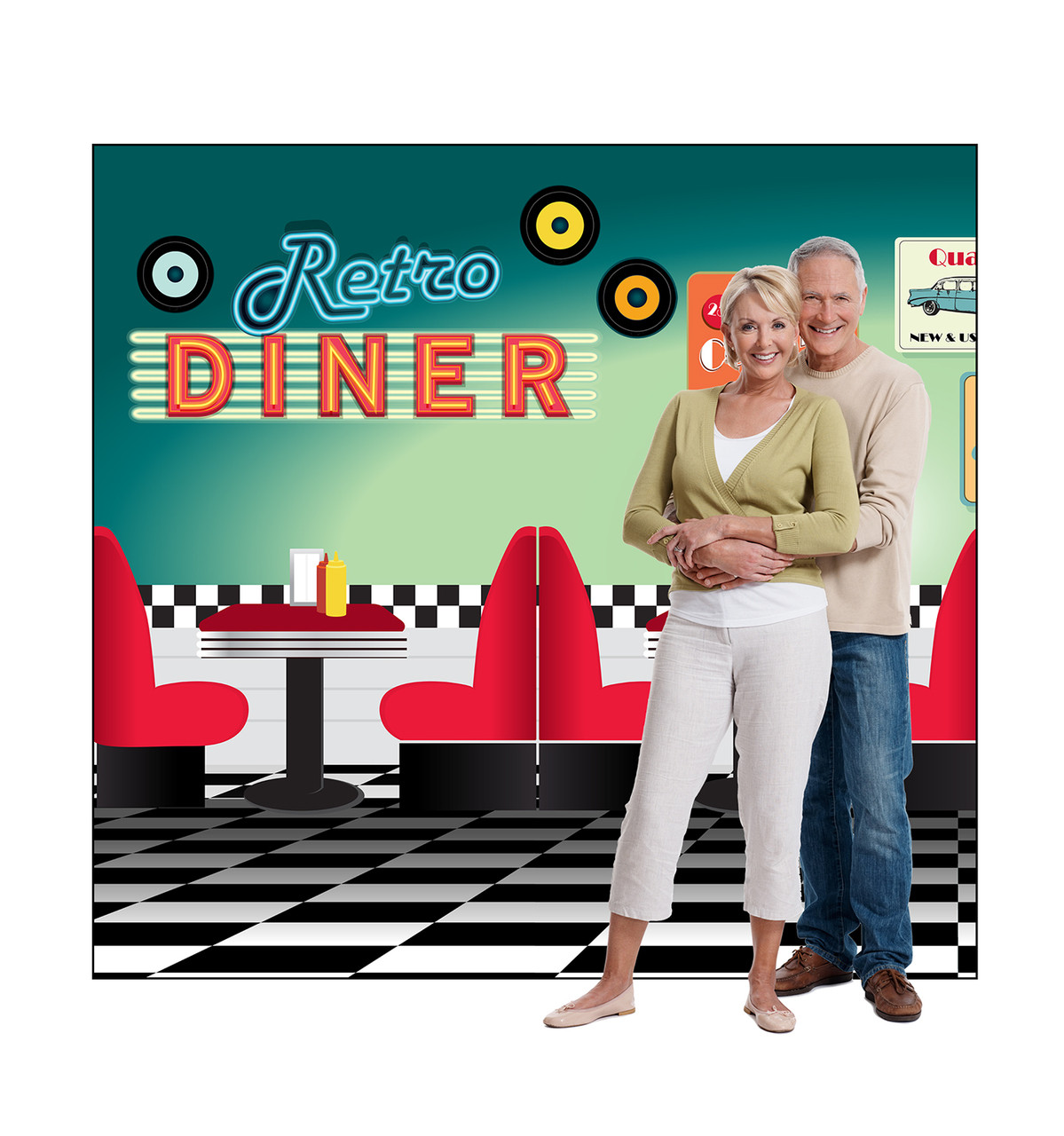 Life-size cardboard standee of a 50's Backdrop double wide with models.
