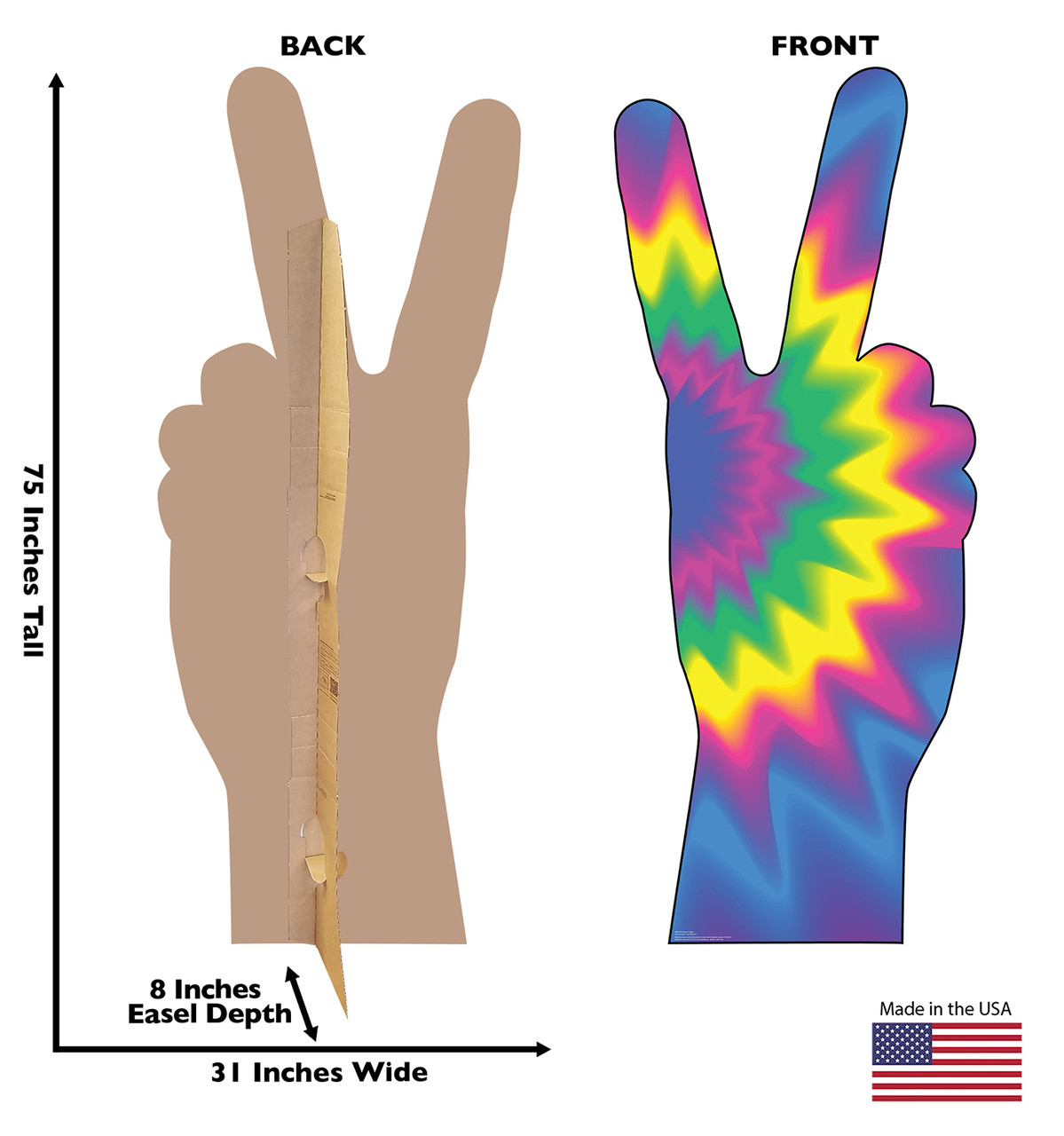 Life-size cardboard standee of 70's Peace Fingers with back and front dimensions.