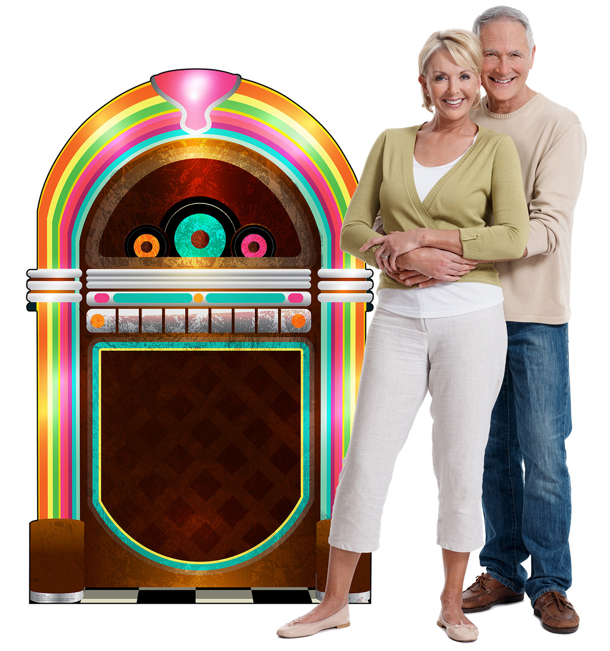 Life-size cardboard standee of 50's Juke Box with models.