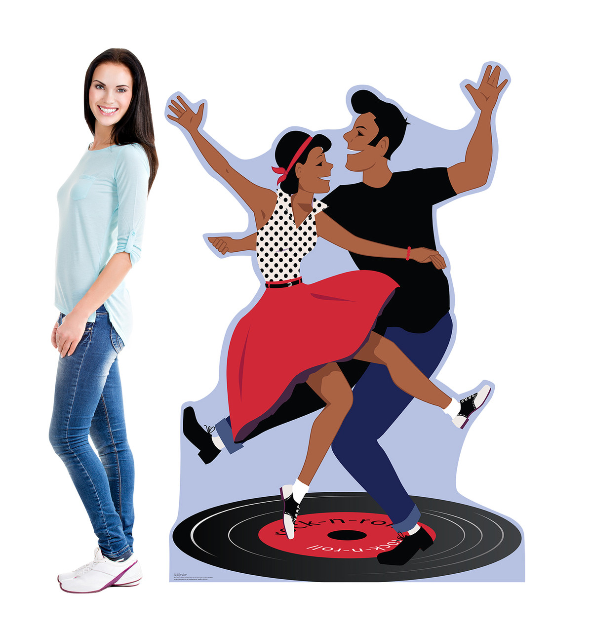Life-size cardboard standee of 50's Dance Couple with model.