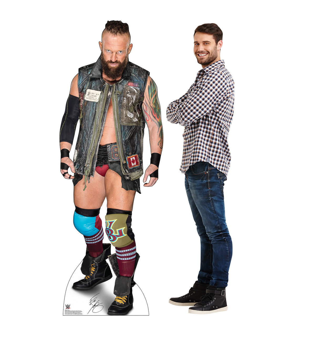 Life-size cardboard standee of Eric Young - WWE with model.