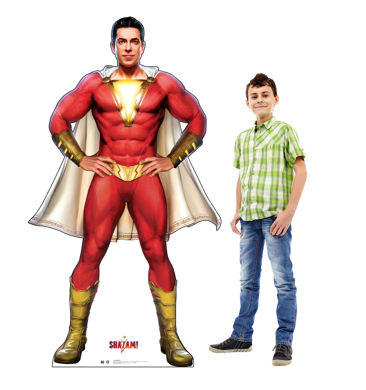 Life-size cardboard standee of the super hero Shazam! with model.