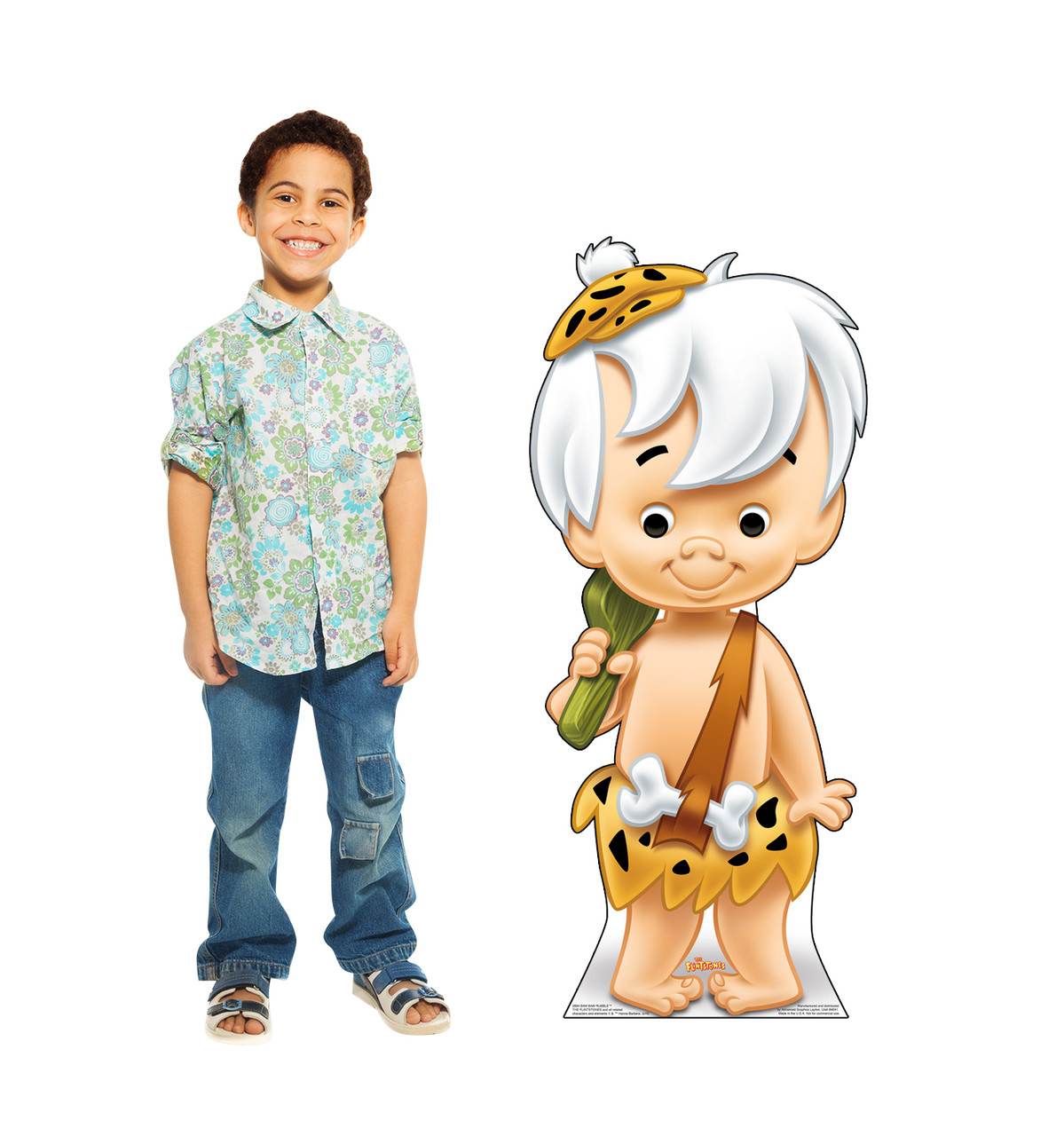 Life-size cardboard standee of Bam Bam Rubble with model.