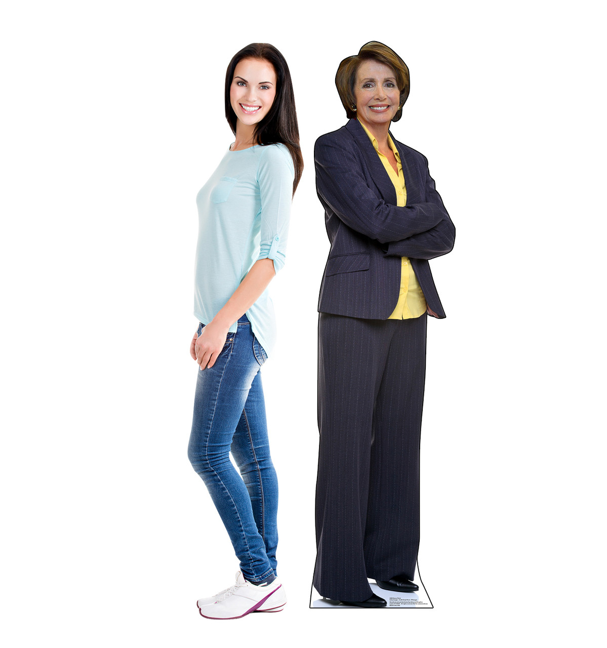 Life-size cardboard standee of Nancy Pelosi with model.