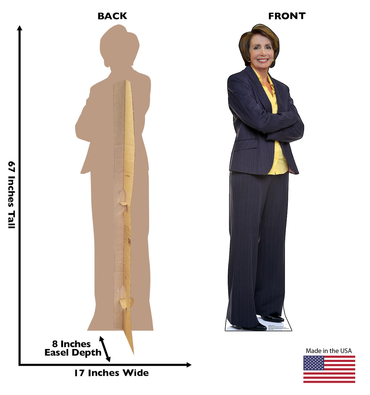 Life-size cardboard standee of Nancy Pelosi with back and front dimensions.